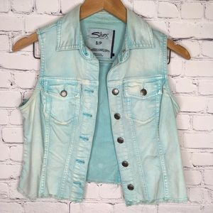 🧵Silver Jeans Light Teal Jean Jacket Vest Small